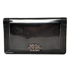 Chanel Grey Boy Bi-fold Patent Leather Wallet